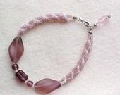 Handwoven Beaded Purple Rope Bracelet