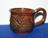 Hand Carved Mountain Scene Mug