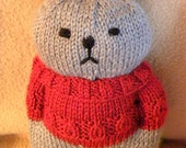 cat knit plushie doll grey and cranberry - Jenny