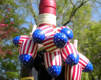 Patriotic / 4th of July Red White & Blue Lobster Buoy, Coastal Beach Wedding Gift, Decoration, Ornament