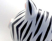 Zebra Piggy Bank - Personalized Piggy Bank - Safari Theme Bank - Wild Animal Piggy Bank - with hole or NO hole in bottom - Made in USA