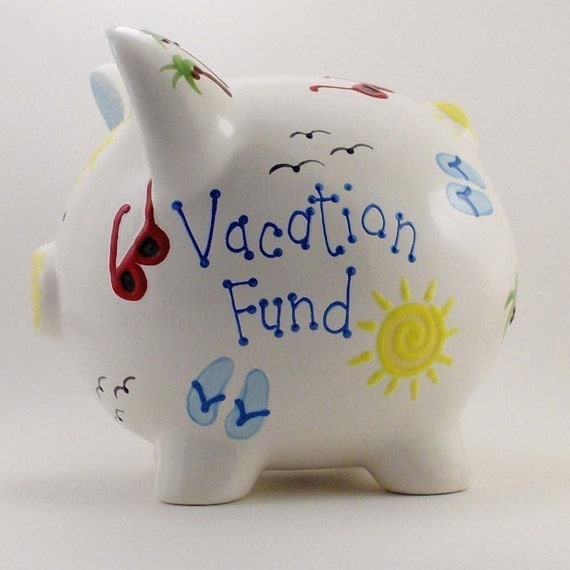 Personalized Piggy Bank Sunny Vacation With Hole Or No