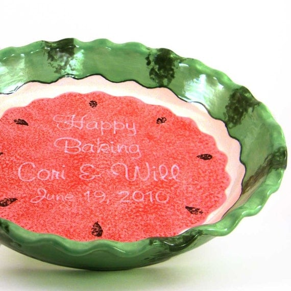 Watermelon Pie Dish - Personalized Pie Plate - Ceramic Watermelon Baking Dish - Summer Theme Serving Dish - Personalized Melon Pie Dish
