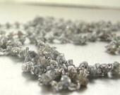 Raw diamond necklace. Rough diamond necklace. 36inches long diamond bead necklace.  Beaded diamond necklace. Ready to ship.