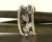 Diamond and leaf engagement ring set .  Anniversary ring set. 14k gold. Diamond leaf rings.