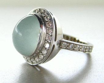 Milky aquamarine ring. Aquamarine diamond ring. Milky aquamarine engagement ring. 14k white gold with milky aquamarine.