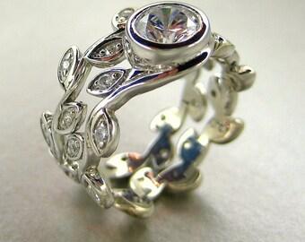 Platinum Engagement leaf ring set.  Leaf Wedding set. Vine platinum ring set. Anniversary leaf ring set. White sapphire leaf ring set.