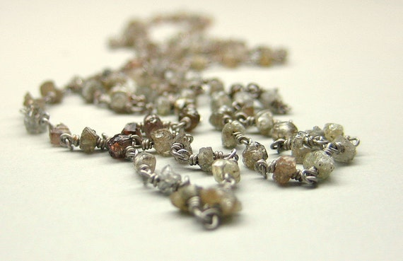 Rough diamond bead necklace. Sterling Silver. 18 inches. Ready to ship.