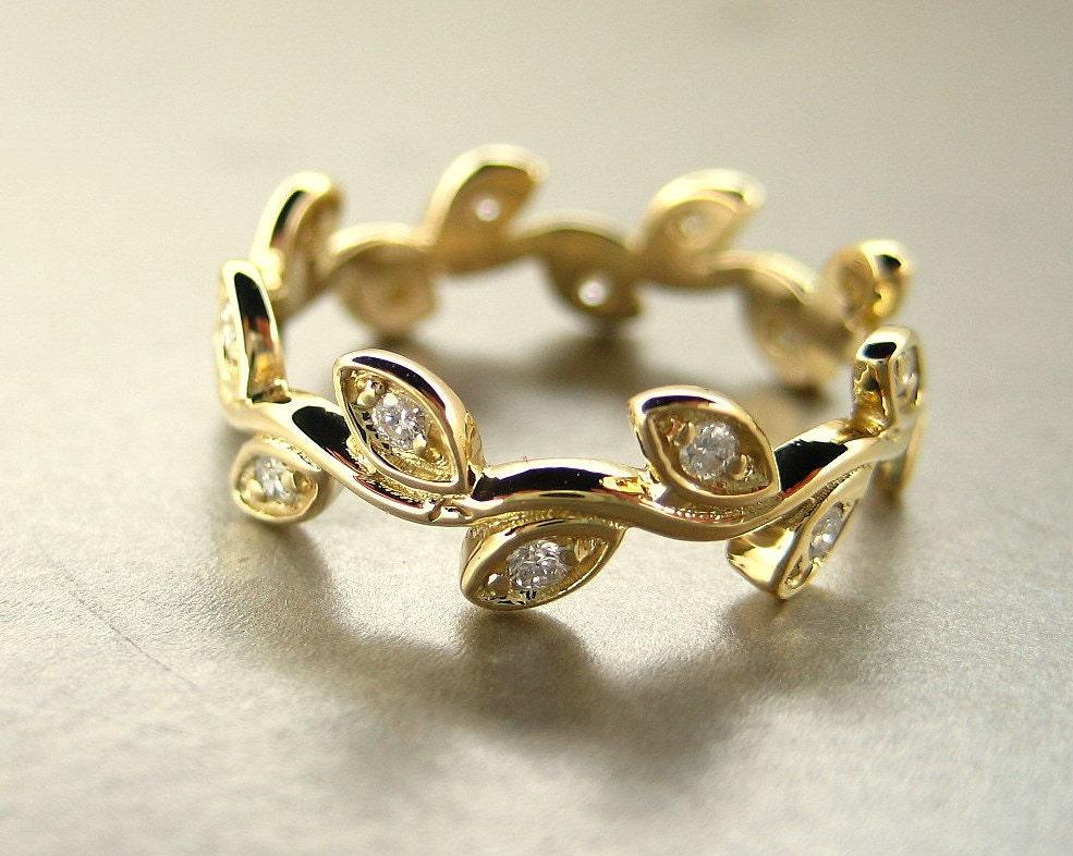 Engagement Diamond Leaf Ring 14k Yellow Gold Leaf Ring Leaf