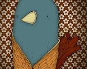 Bird Portrait Illustration - Nursery animal art print with vintage wallpaper 7 x 9.5 inches