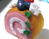 Swiss Roll Felt Cake Slice With Blueberries and Strawberry