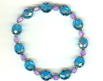 8 inch Blue and Violet Stretch Bracelet