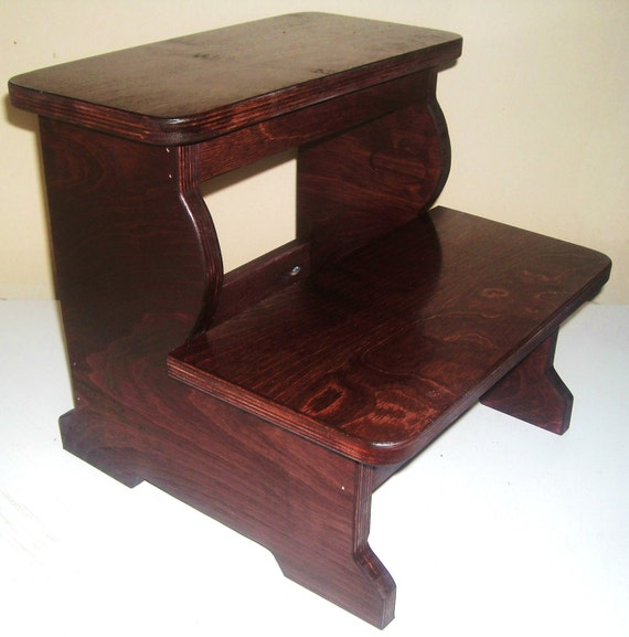 Big Boy Wood 2 Step Stool Dark Cherry