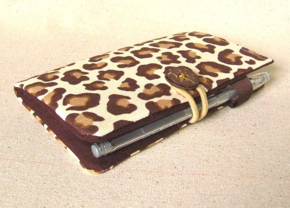 leopard print passport/checkbook cover - ready to ship