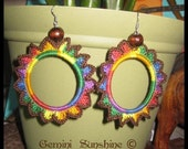 Sol Flower Chocolate Skittles Crochet Earrings