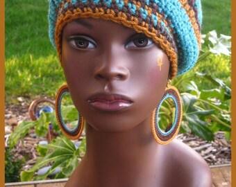 Aqua Chocolate Honey Sol Crochet Tam and Earrings
