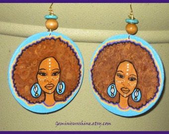 Afro Mama Hand Painted Earrings