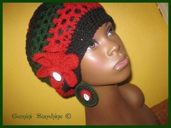 Gemini Sunshine RBG Crochet Tam and Earrings