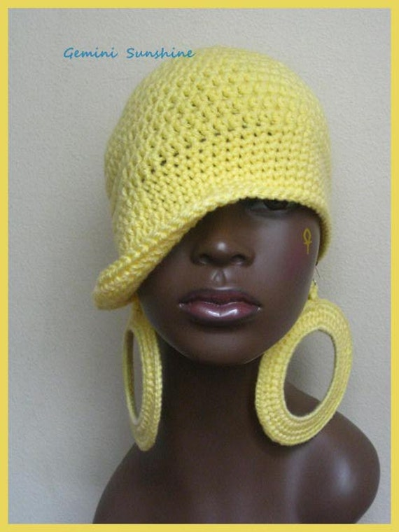 SALE - 5 Dollars Off - Classy Yellow Hippie Crochet Hat and Earrings