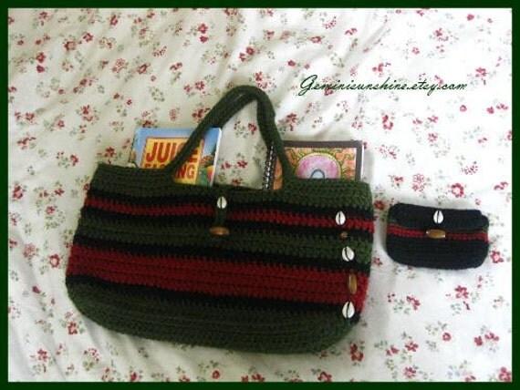 Crochet Tote Bag RBG Cowrie Sol