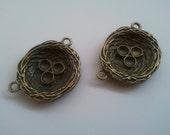 Pair of Bronze Bird Nest Connectors