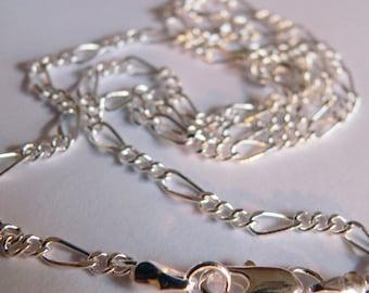 18 inch  Figaro 2 mm Silver Chain