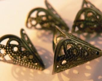 Antique Bronze Filigree Bead Caps