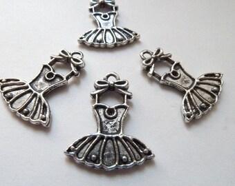 Silver Ballet Dress Charm