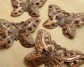 4 Large Copper Antiqued Butterfly Charms