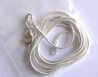 18 inch  Silver 1 mm snake chain necklace
