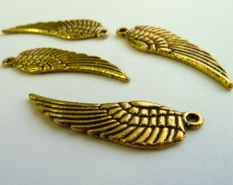 Large Gold Angel Wings Charms