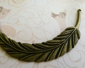 Large Bronze Feather Connector Charm
