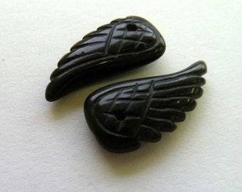 1 Pair Black Agate Angel Wings