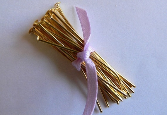 Reduced  Gold Plated Flat head pin 35 mm