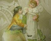 Antique Victorian Die Cut -  French Children - Circa 1890's