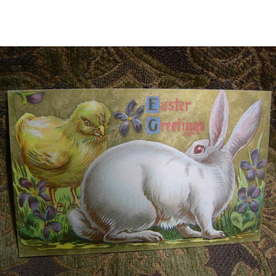 Vintage Easter Postcard - Bunny and Chick Share the Violets- Circa 1910