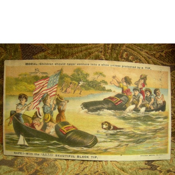 Vintage Victorian Scrap Large Advertising Card- Shoes, Boots and Rubbers