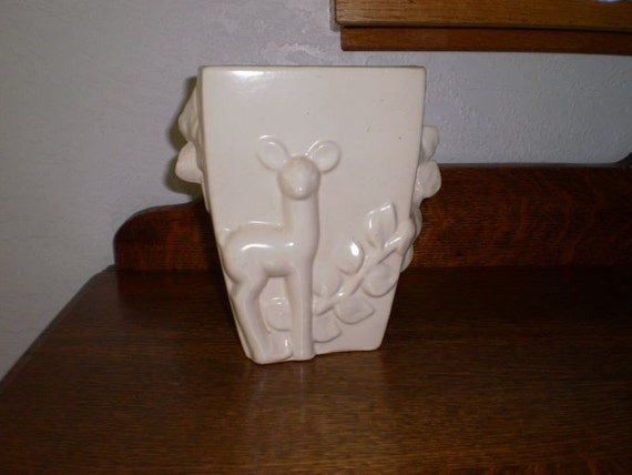 Red wing pottery vase with deer motif reduced price
