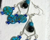 RESERVED FOR JANET- Handmade millefiori glass chandelier earrings- FREE SHIPPING USA and Canada- Handmade for Etsy by DosGringas