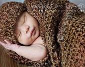 Baby Cocoon and Hat Set Newborn to 3 months Barley Brown