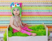 Owl Hat Fuschia Pink, Lime Green, Mod Blue - Easter Hat