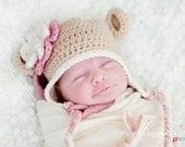 Baby Girl Monkey Hat with Fluffy Flower - Light Tan, Vanilla, Pale Pink, Rose Pink - Photography Prop