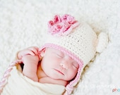 Baby Girl Monkey Hat with Fluffy Flower - Vanilla, Rose Pink and Pale Pink - Photography Prop