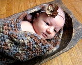 Organic Cotton Baby Cocoon and Hat Set - Mocha Brown