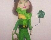 Luck Of The Irish St Patrick's Day Lady Leprechaun OOAK Primitive