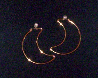 1950's-1960's Extra Large Vintage Monet  Goldplated Crescent Earrings