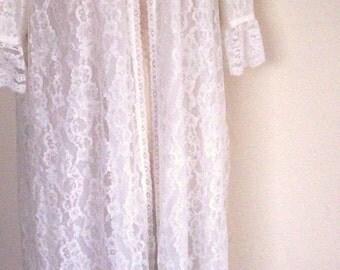 Vintage Ivory  Lace  Floor Length Peignoir