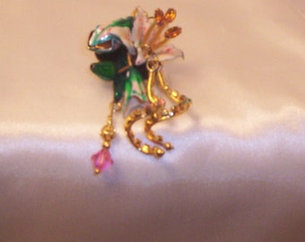 Vintage  Enameled Jeweled Floral Brooch