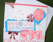 Handmade Baby Girl Greeting Card, Embossed, Pink and Blue