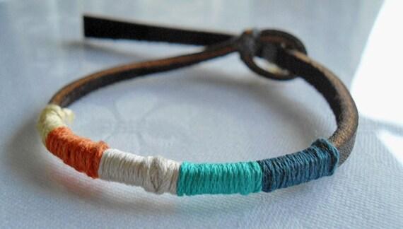 Dark Brown Leather,Thread Wrapped Bracelet